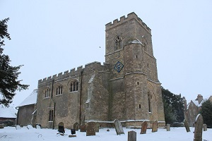 Astwood church in the snow